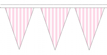 Pink and White Striped Traditional 10m 24 Flag Polyester Triangle Flag Bunting